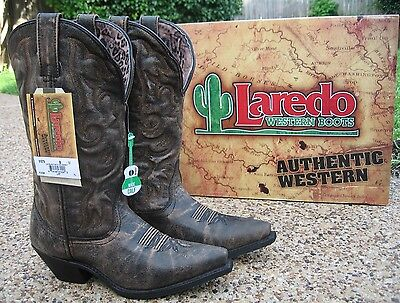 Ladies Western Black Leather Boots - NEW Ladies Laredo Access Black Tan Leather Wide Calf Western Cowboy Boots 51079