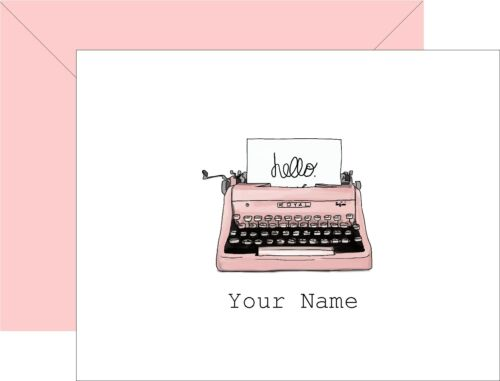 Personalized Note Cards Vintage Retro Pink Typewriter Set of 8 w/ envelopes