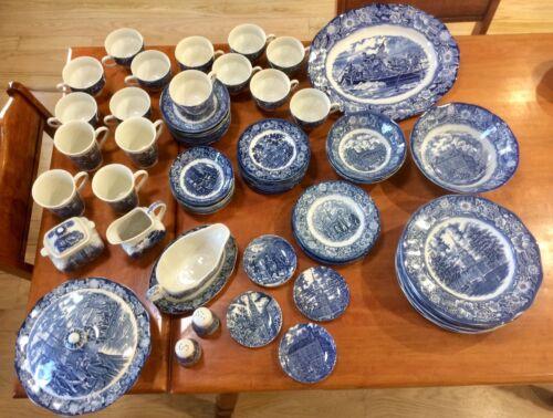 Vintage Liberty Blue Staffordshire Ironstone China 81 pieces