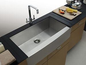 Aquarius Square Undermount Apron Front Farmhouse Stainless Steel Kitchen  Sink