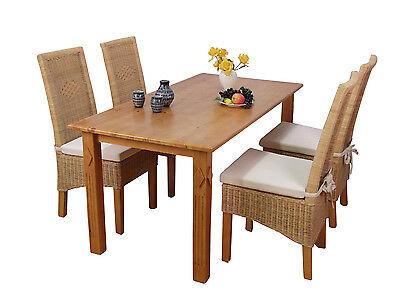 Set Massivholz Sessel (2er Set Rattansessel inkl. Kissen beige massivholz Pinie Rattan Rattanstuhl )
