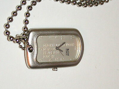 Rare Men's Unisex Boy London Original Army Dog ID Tag Watch New NOS 1996
