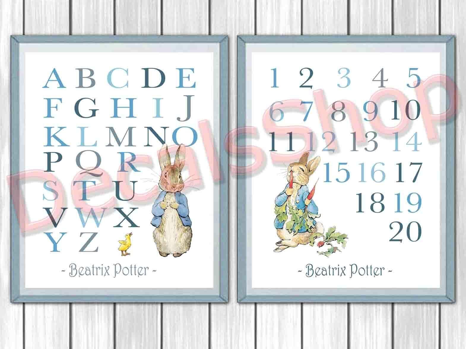Set of 5 Peter Rabbit Nursery Prints Beatrix Potter Decor Nursery Art