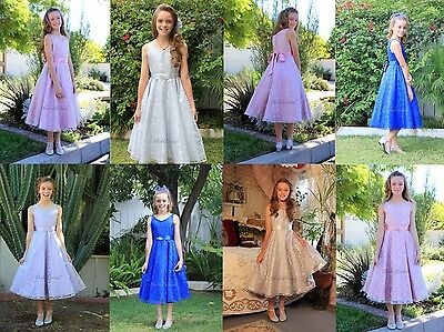 Wedding Floral Lace Overlay V Neck Flower Girl Dress Pageant Holiday Junior 166R