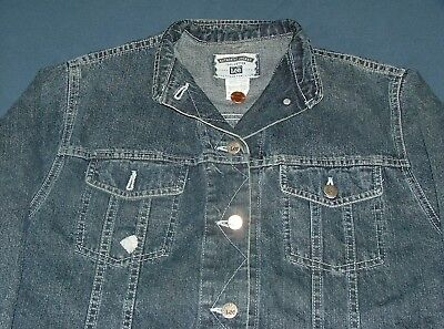 - Men's Lee Blue Denim Casual Trucker Jacket with Metal Buttons Large 100% Cotton