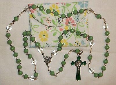 Green Rosary, Acrylic Rosary, 8mm, Catholic Rosary, Handmade Rosary & pouch