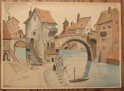 Charming antique signed watercolor drawing river/canal town scene A.Wilkins