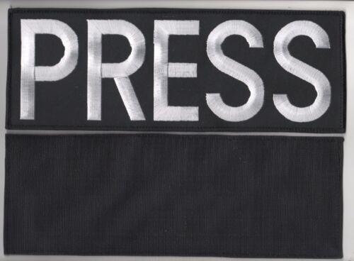 "NEWS PRESS MEDIA TV 11"" white-on-Black velkrō PATCH for Reports BULLETPROOF VEST"