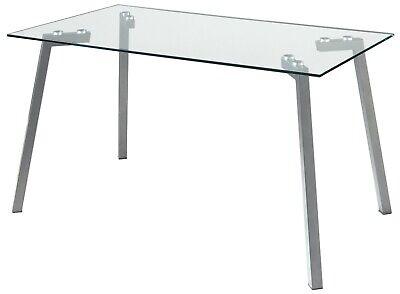 Mesa fija cristal transparente rectangular comedor salon patas gris 140x80x74