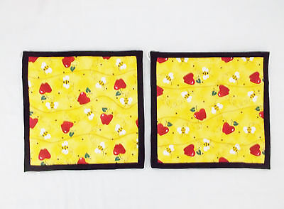 "Bubble Bees & Apples Pattern Potholder-9 X 9""-Set of 2 Handmade-Pizazz Creations"