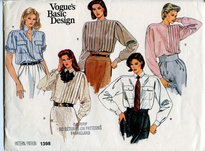 Vintage Vogue Easy 1398 Five Beautiful Blouses/Shirts SZ 12,Tailored Uncut!!