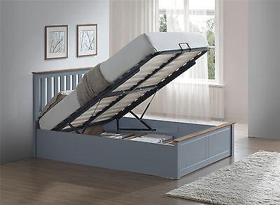 Phoenix Wood Ottoman Bed Frame Gas Lift Storage Double 4FT6 Stone Grey Oak Solid