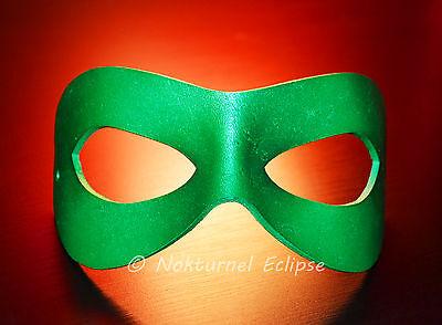 Green Superhero Leather Mask Mardi Gras Batman Halloween Masquerade UNISEX - Green Superhero Mask