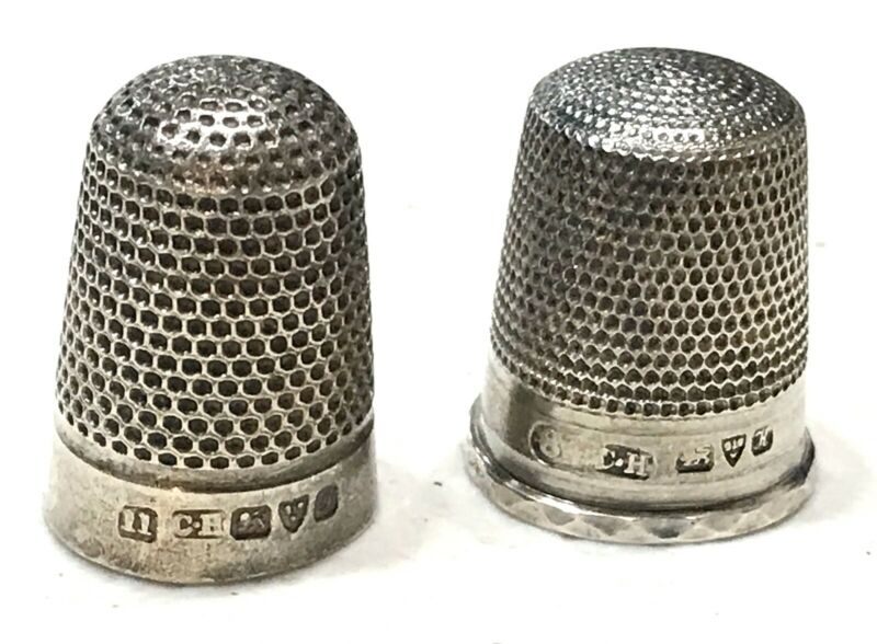 Pair Antique Vintage 1800' England Chester Hallmarked Sterling Silver Thimbles