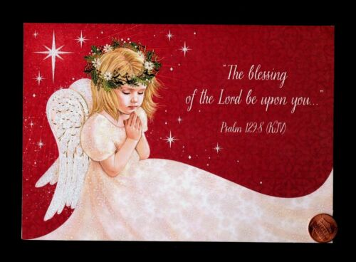 Christmas Angel Praying Wings Stars - RELIGIOUS - GLITTERED Greeting Card NEW