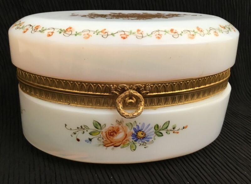 BIG  French Bulle de Savon Opaline Oval Casket Hinged Box
