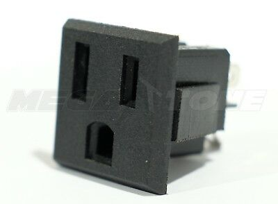 - (1 PC) AC Power Outlet 15A/125VAC 3-Prong Female Socket Snap-In Panel USA SELLER