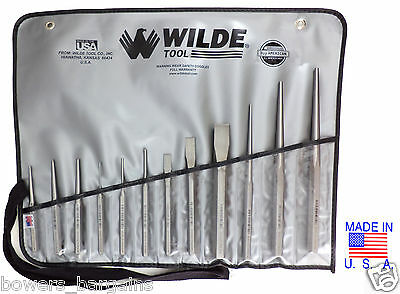 Wilde Tool 12pc Professional Punch & Chisel Set MADE IN USA Vinyl Case