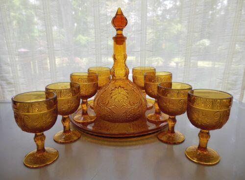 Tiara Indiana Glass Amber Sandwich Tray Goblets Decanter 11 piece Wine Set