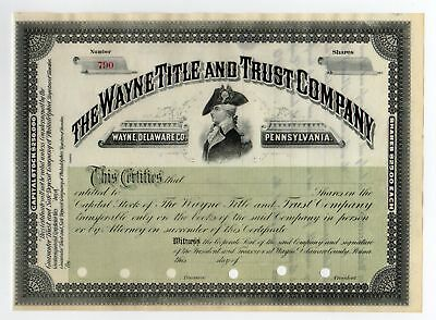 The Wayne Title and Trust Company Stock Certificate