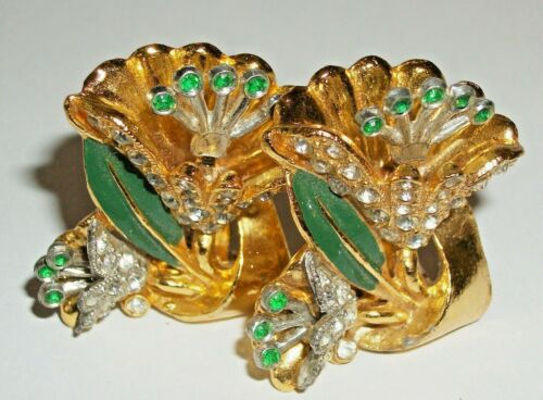 FAB PAIR Unsigned 30s CORO FLOWER Enamel Rhinestone TREMBLER Vtg DRESS CLIPS