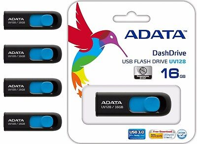 Pack of 4 ADATA USB 3.0 16GB Flash Drive Thumb Memory Stick UV128 Wholesale Lot
