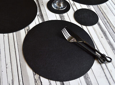 Set 4 ARTISAN Black Bonded Leather ROUND PLACEMATS & 4 COASTERS UK Made 8-PIECE