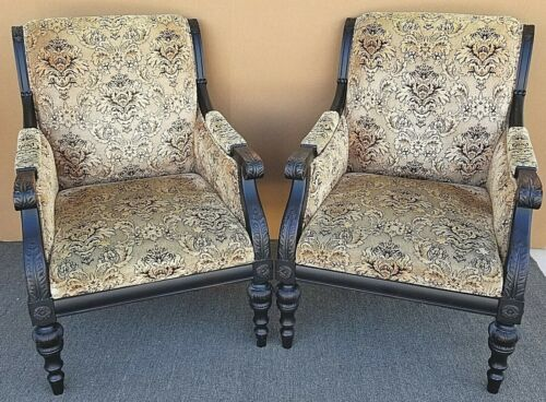 Pair of English Regency Solid Wood Lounge Armchairs in Velvet Upholstery