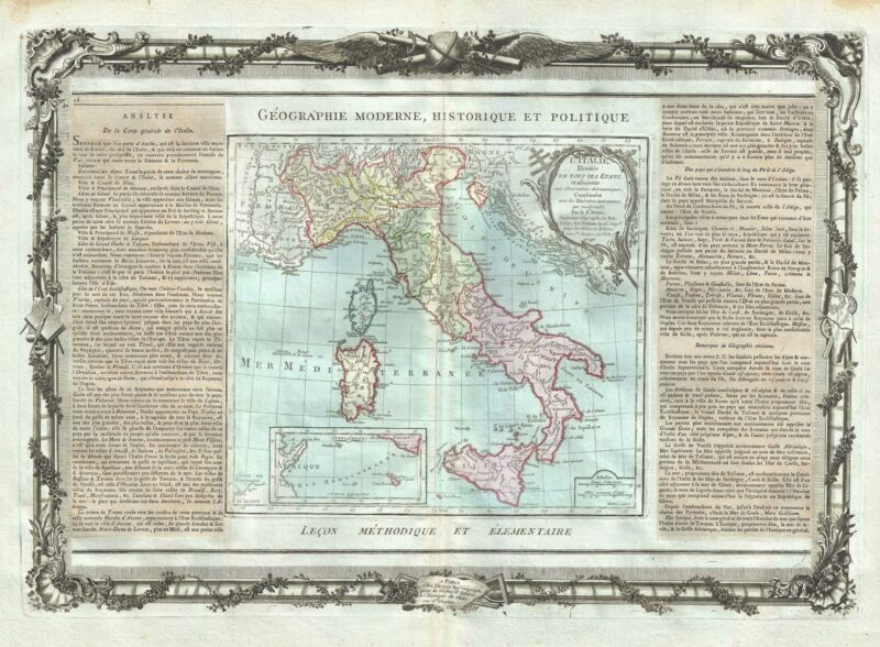 1786 Desnos and de la Tour Map of Italy