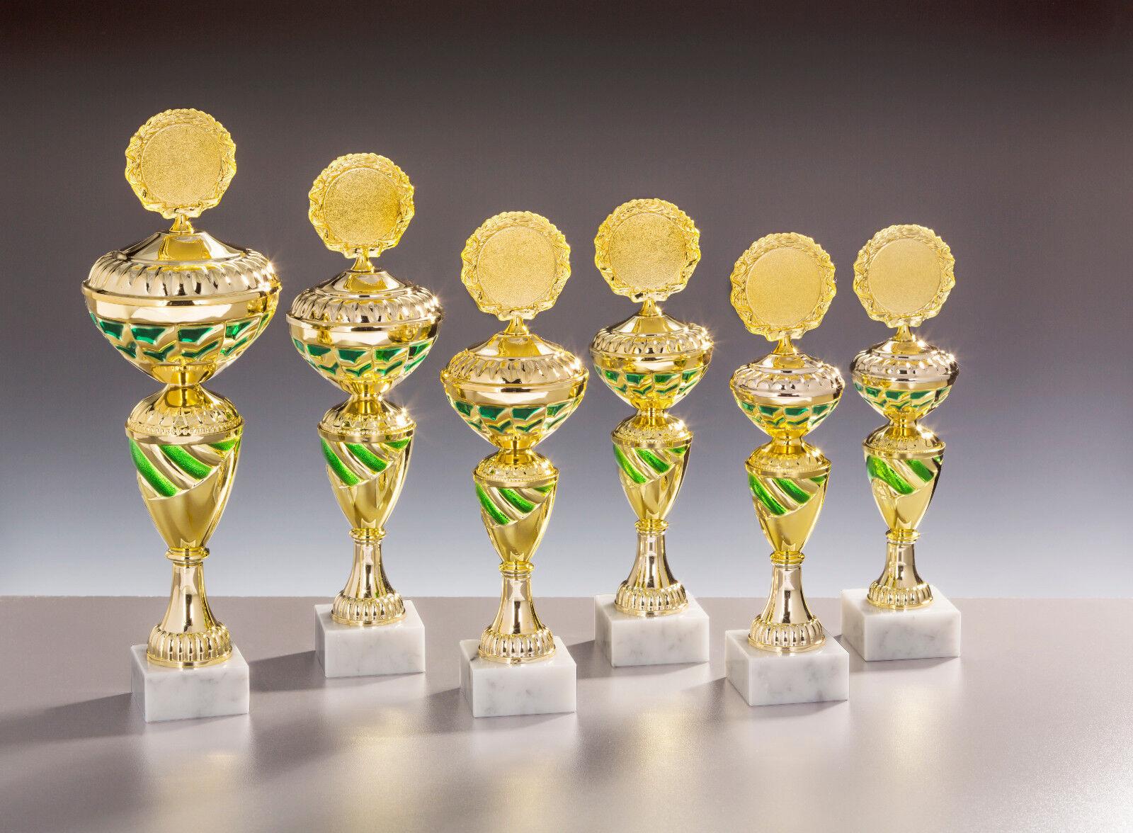 Pokale 6er set oder Pokal einzeln in 3 Farben Trophäen Büro, Billiard, Fußball