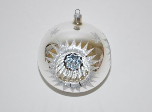 Vintage Triple Reflector Glass Blown Christmas Ornament Ball Silver ~ Blue