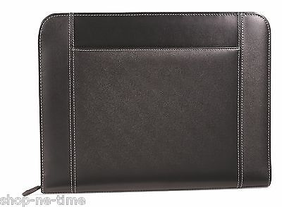 Gemline Eton Executive Black Leather Zippered Padfolio W Pocket For Tablets New