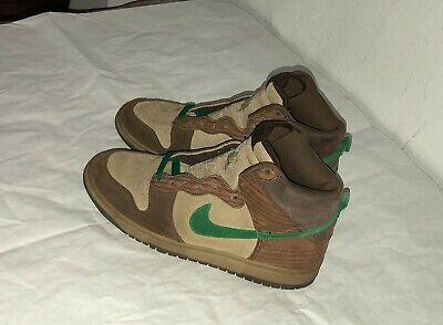 Nike SB Dunk High Wood Grain Deck Brown Green Size 6.5