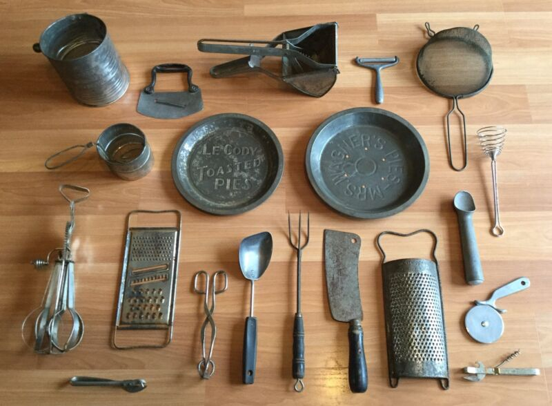 OLD VTG ANTIQUE METAL KITCHEN TOOL UTENSIL GRATER MIXER SIFTER GADGET LOT OF 20