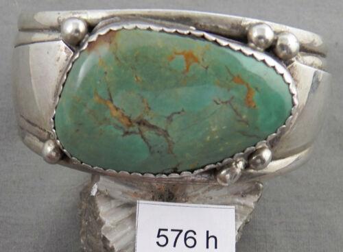 Vintage Navajo Sterling & Nice Large Turquoise Bracelet,Signed!