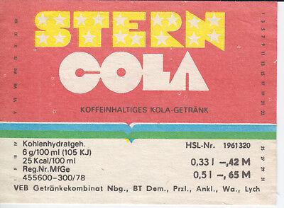 1 Etikett Neubrandenburg ,  Stern Cola ,   DDR  gebraucht kaufen  Leipzig