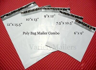 125 Poly Bag Postal Shipping Envelope Variety Pack 5 Sizes Self-sealing Mailer