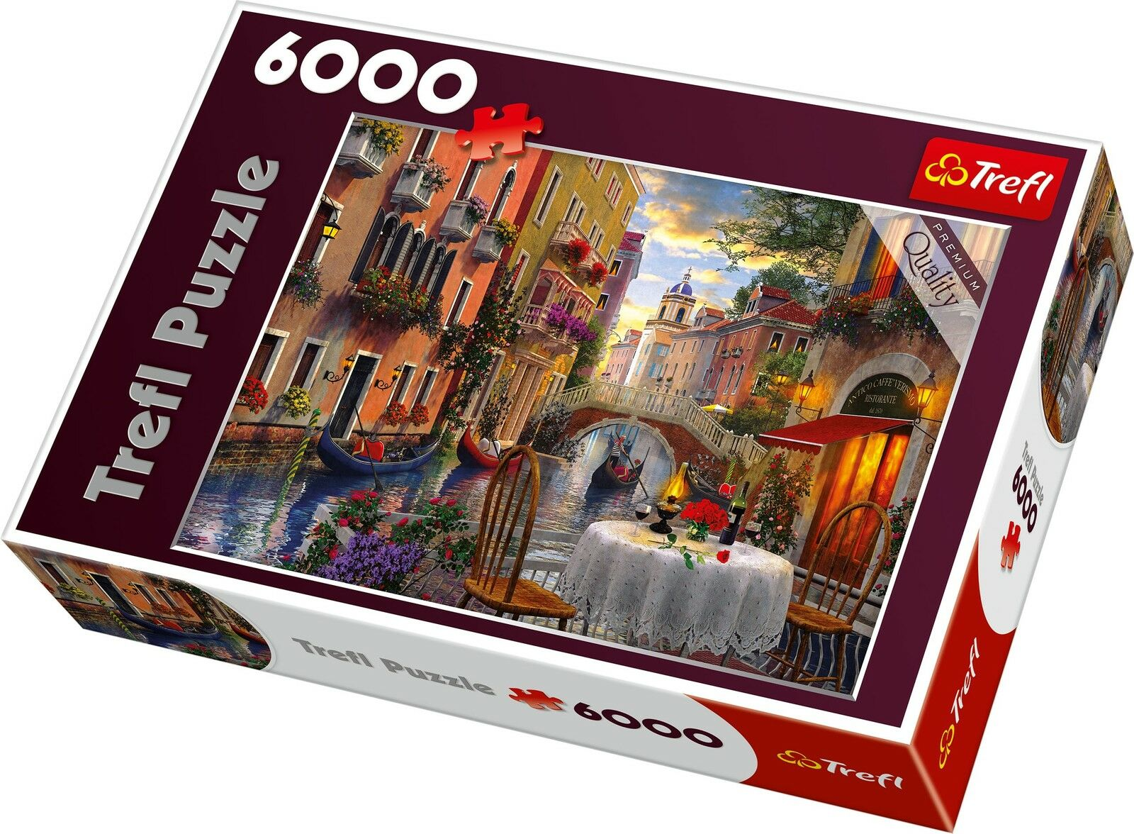 trefl 6000 piece adult large romantic venice supper meal floor jigsaw puzzle new. Black Bedroom Furniture Sets. Home Design Ideas