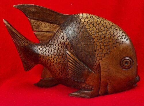 "SUN FISH Figurine Carved Wood -  8""x5.5"" Folk Art"