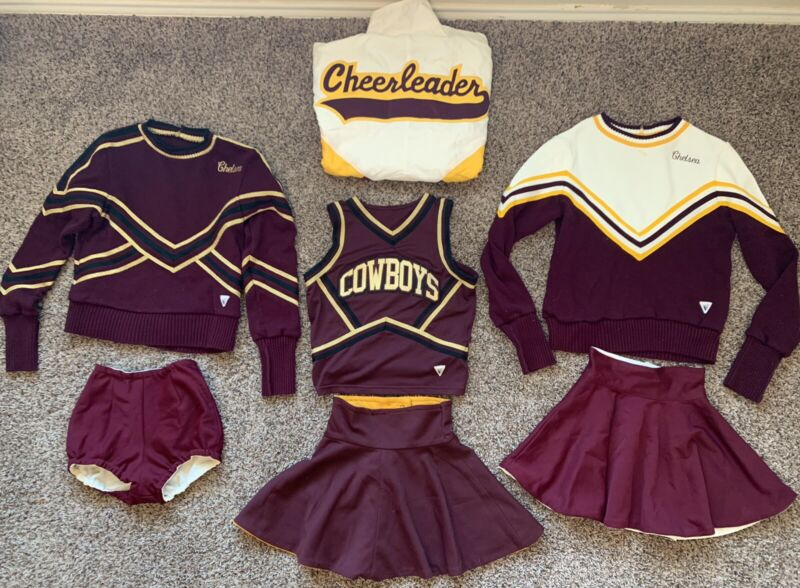Vintage Cheerleader Cheerleading Uniform Outfit 7 Pieces CHS cowboys Vtg
