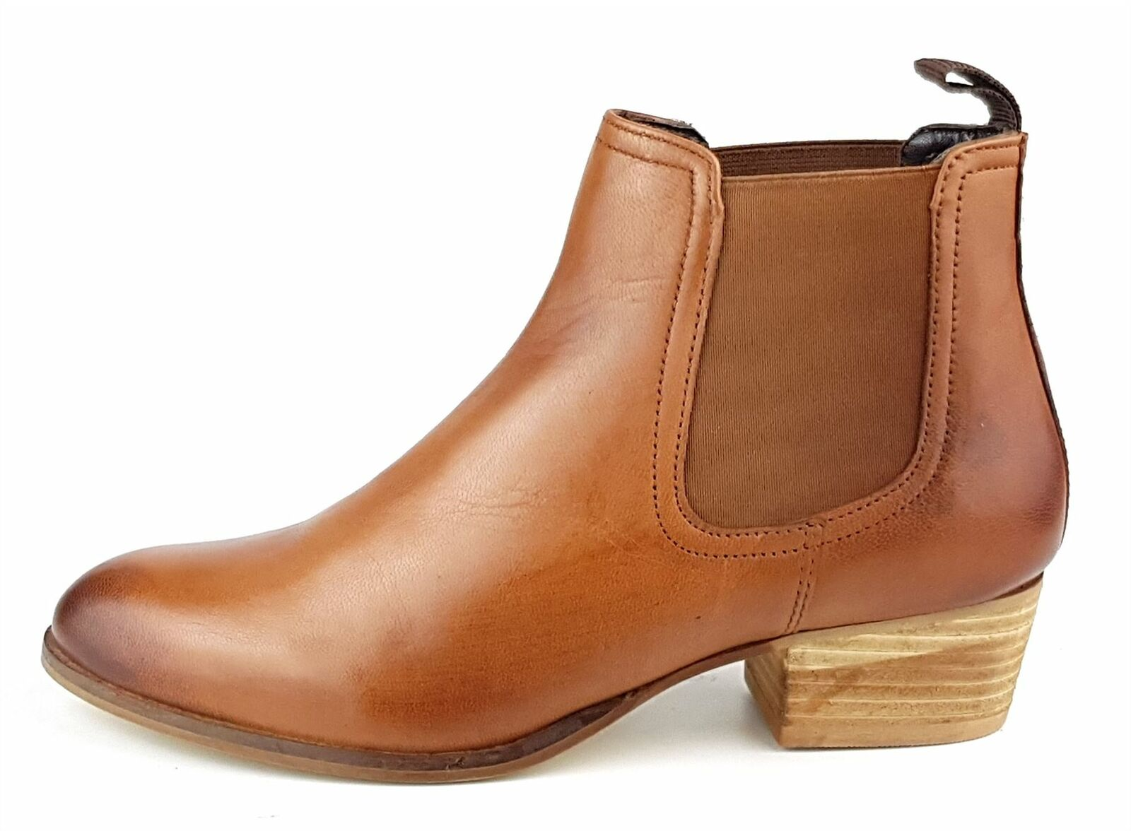 Frank James York Ladies Womans Tan Leather Chelsea Pull On Ankle Heel Boots 1