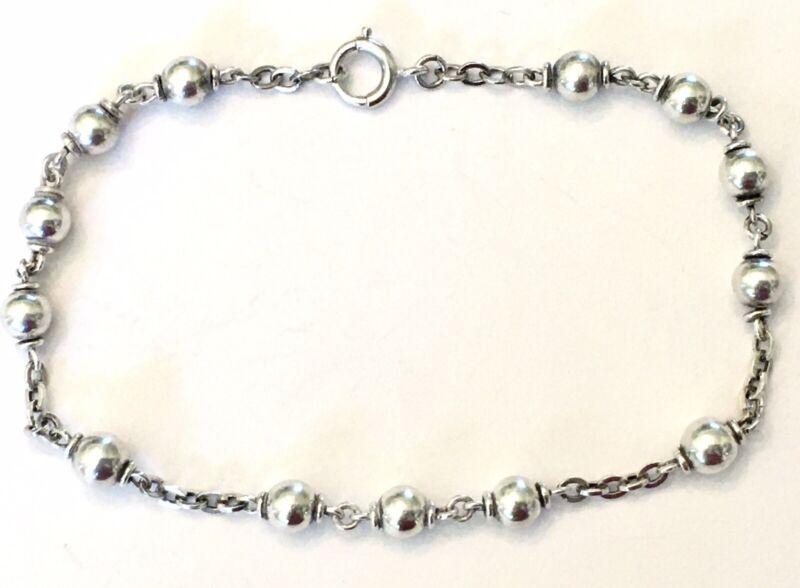 "Delicate Antique ~ Art Deco ~ STERLING SILVER ~ 8.25"" ~ Beaded Chain Bracelet"
