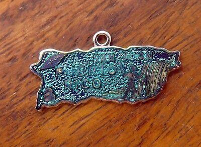 - Vintage sterling silver PUERTO RICO MAP SAN JUAN GREEN GUILLOCHE ENAMEL charm