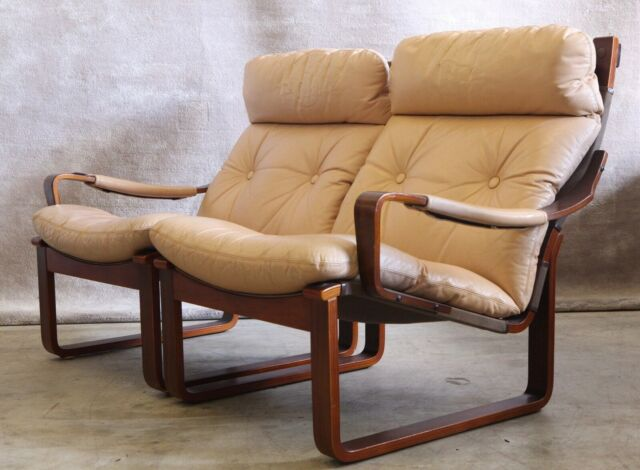 TESSA retro vintage leather sling double armchair ...