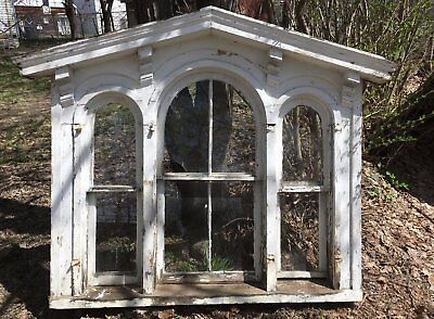 Complete 1850 Antique Triple Arched Victorian Palladian Window Peaked -