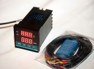 110v220v Digital Temperature Humidity Moisture Dual Controller Usa Shipping