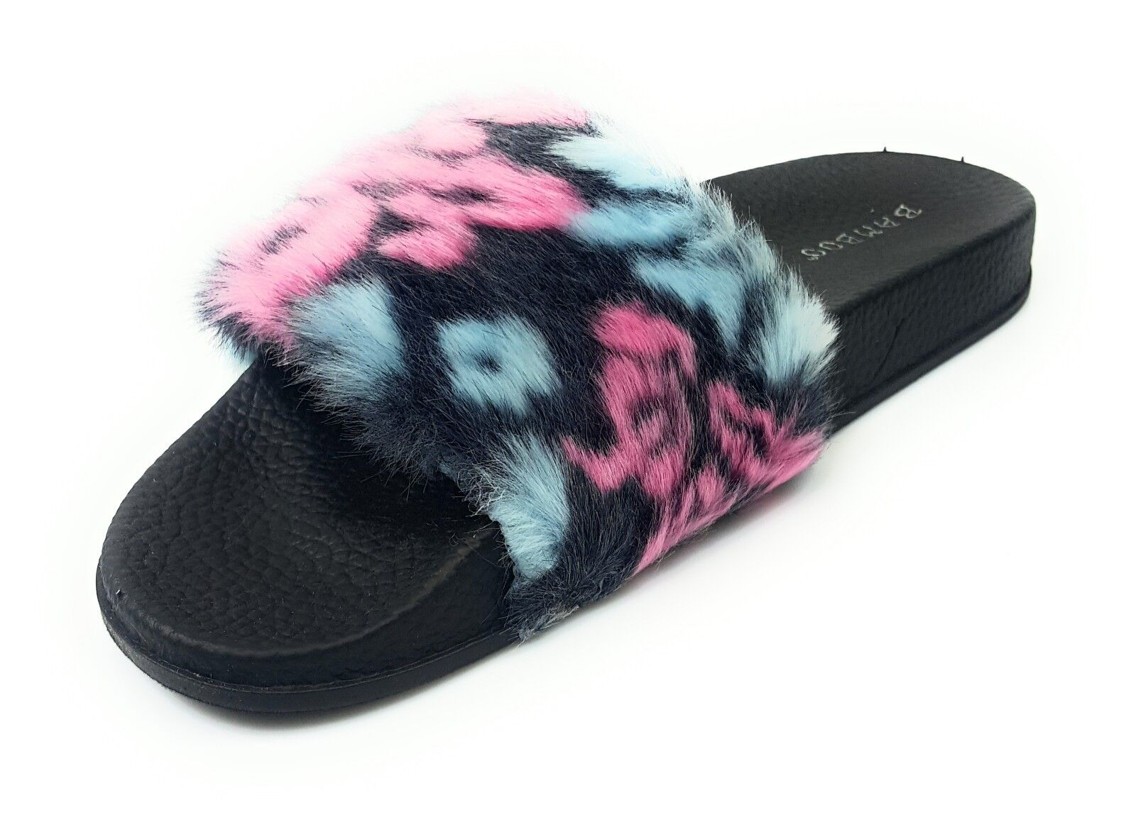 Women's Fashion Soft and Comfortable Furry Flat Sandals Slides  Cozy-01 Bamboo