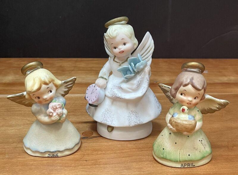 Lot of 3 Vintage Japan Ceramics 2 Birthday Angels Bell June + July + Time Angel