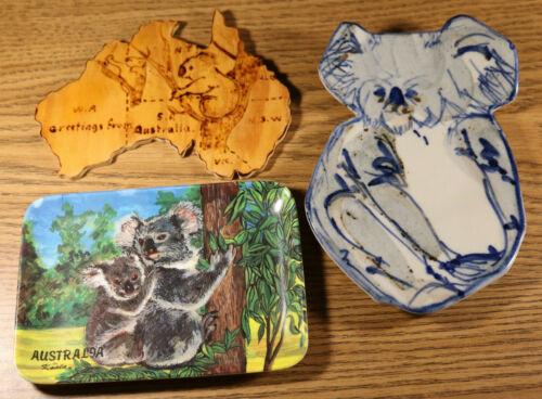 Koala Australia Travel Souvenir lot - plastic tray glass wooden plaque