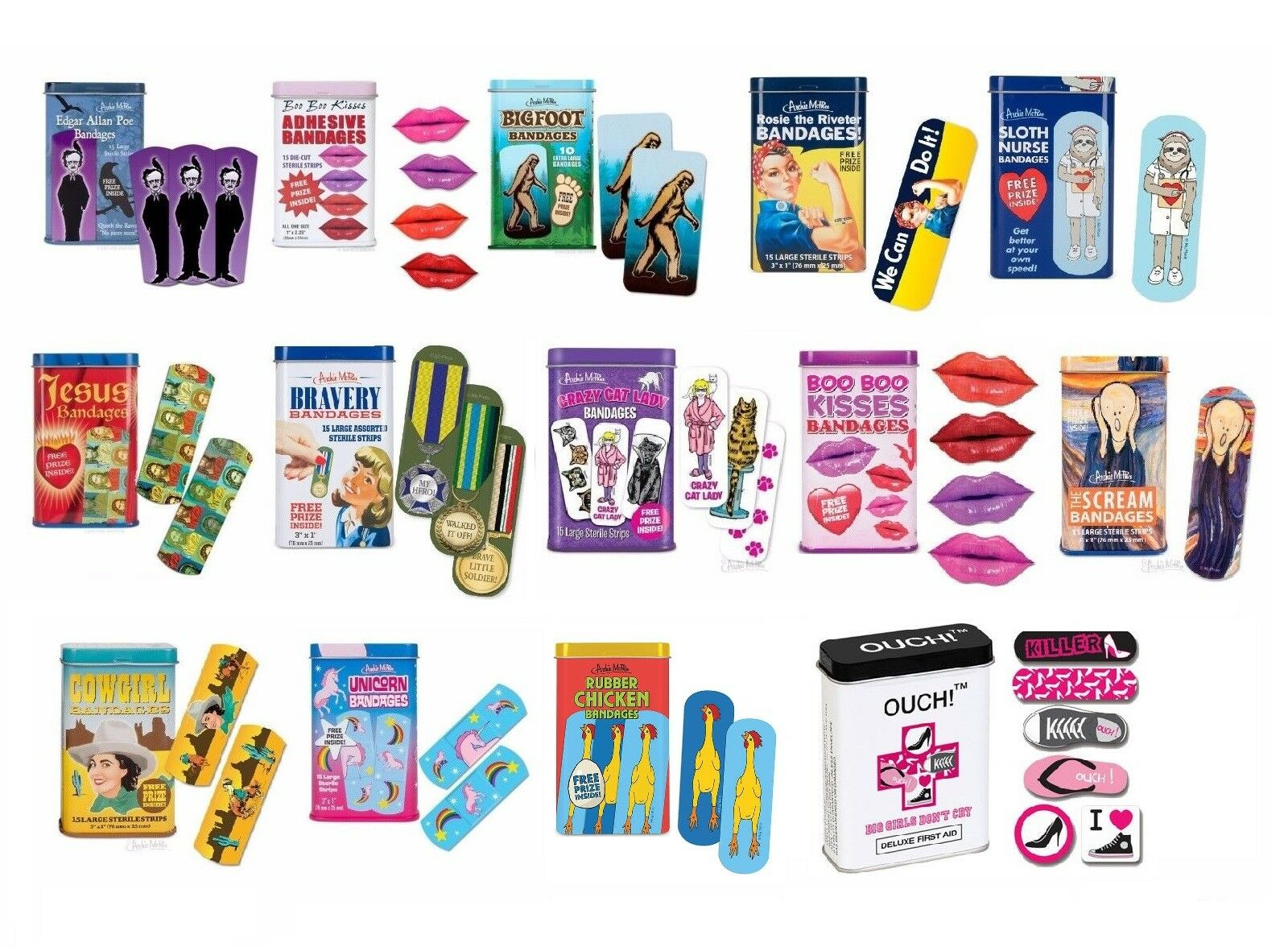 Funny Novelty Band Aids for Kids First Aid Bandages Ouch Pla
